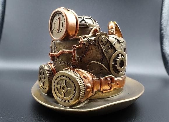 Steampunk Techno Top Hat Resin Bronze Effect Resin
