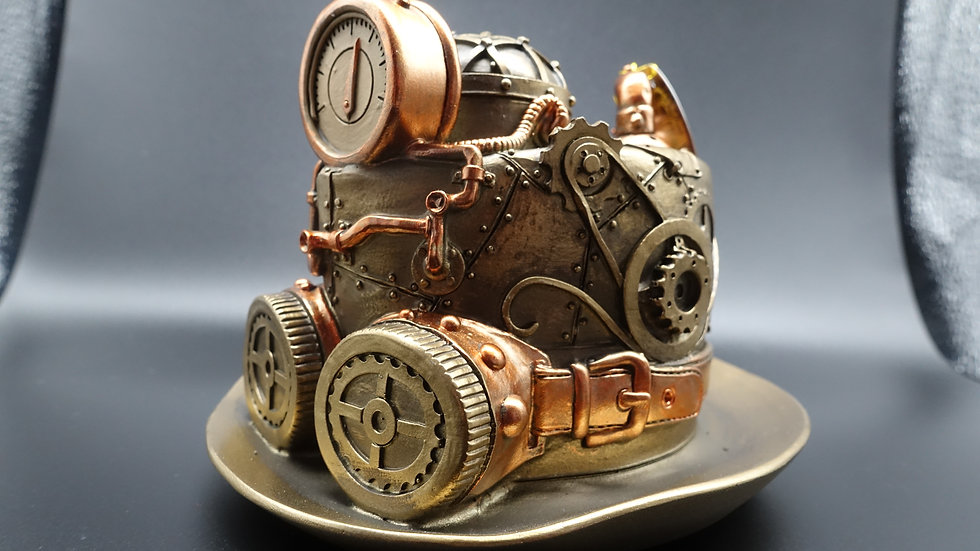 Steampunk Techno Top Hat Resin Bronze Effect Resin