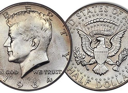 1964 90% US Silver Kennedy Half Dollars CIRCULATED
