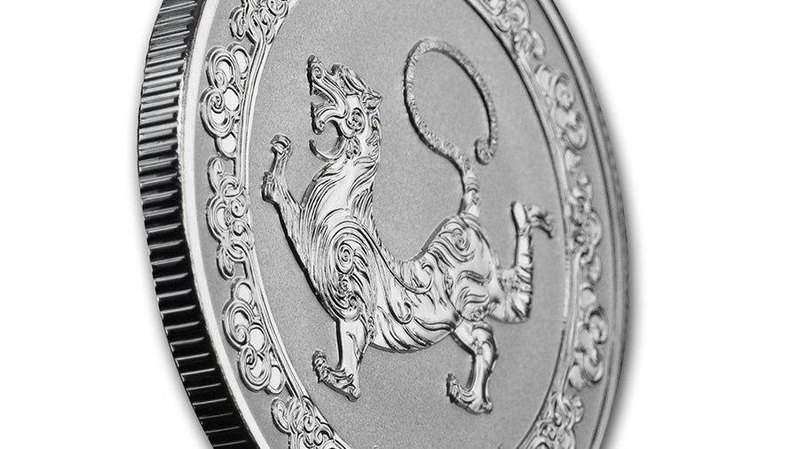 2019 Niue 1 oz Silver $2 Celestial Animals The White Tiger