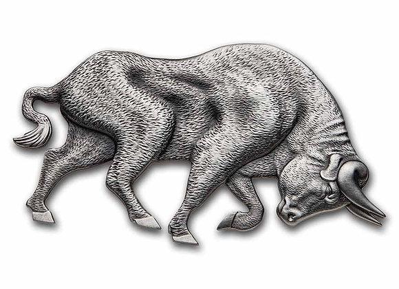2021 Republic of Chad 1 oz Antique Silver Bull / Silver Bear Shaped Coin