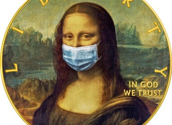 MONA LISA FACE MASK LEONARDO DA VINCI CORONAVIRUS QUARANTINED ART 1$ 2020 1 OZ