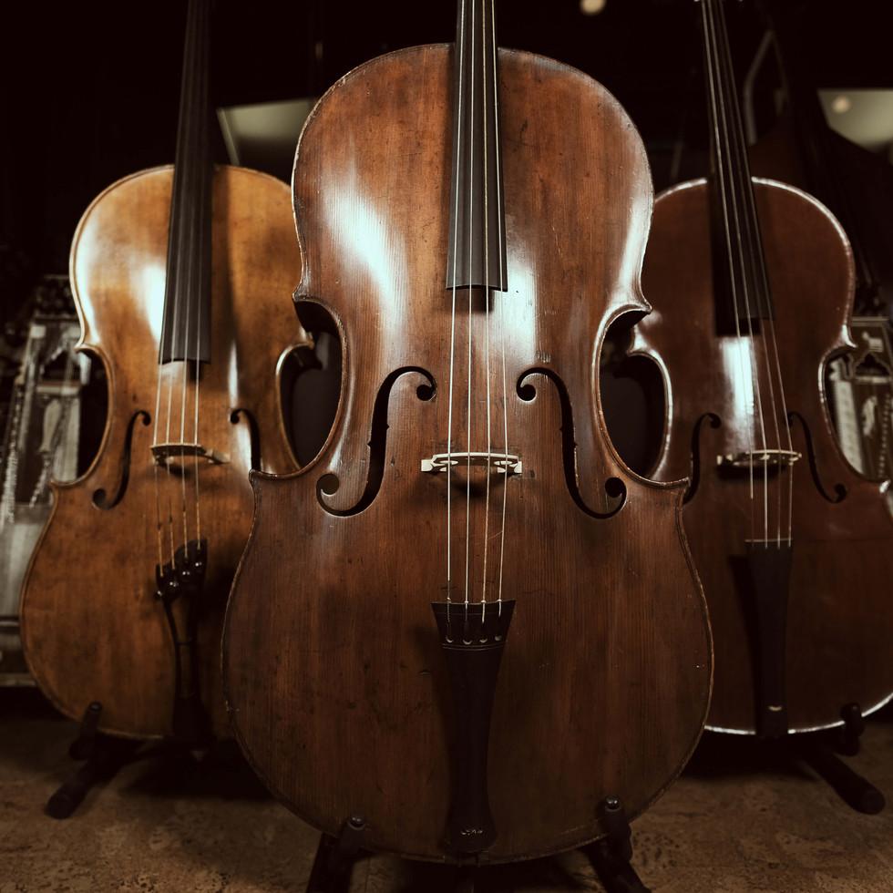 Rare 1820's Church Bass + modern built Baroque cellos