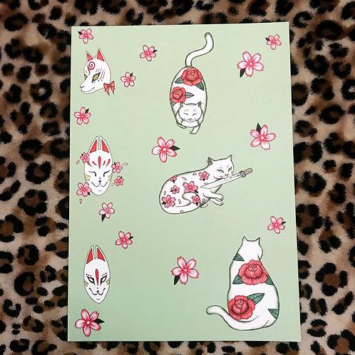 Japanese Cats & Kitsune Art Print