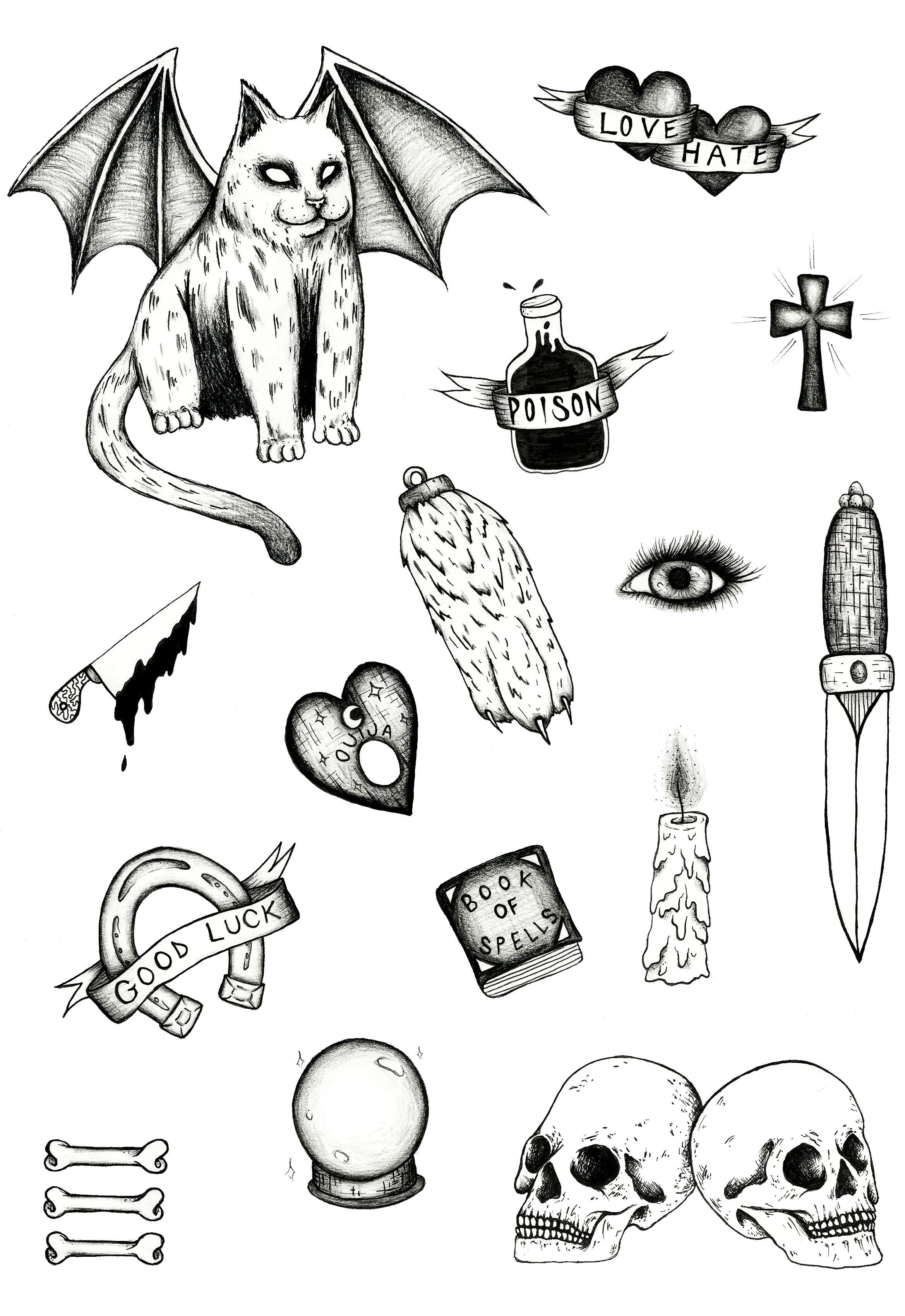 spooky flash sheet tattoo design black and grey