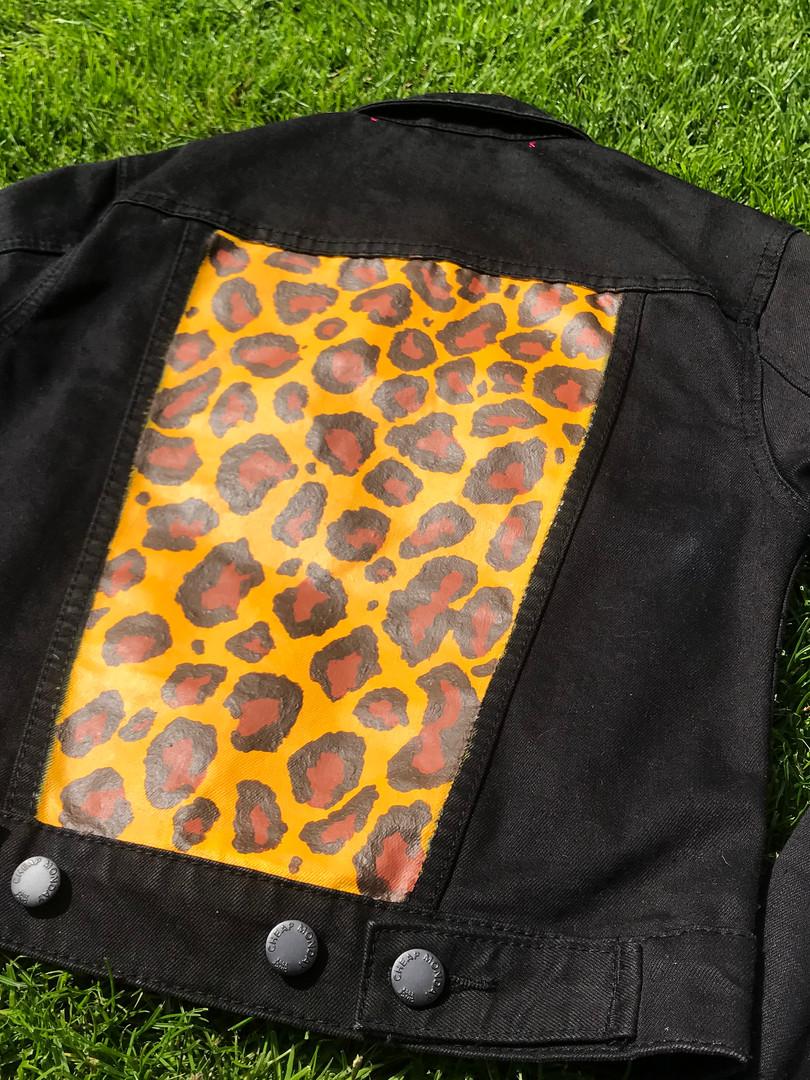 Black Cheap Monday custom painted, Leopard print denim jacket. Hand-painted with acrylic paint and fabric medium.