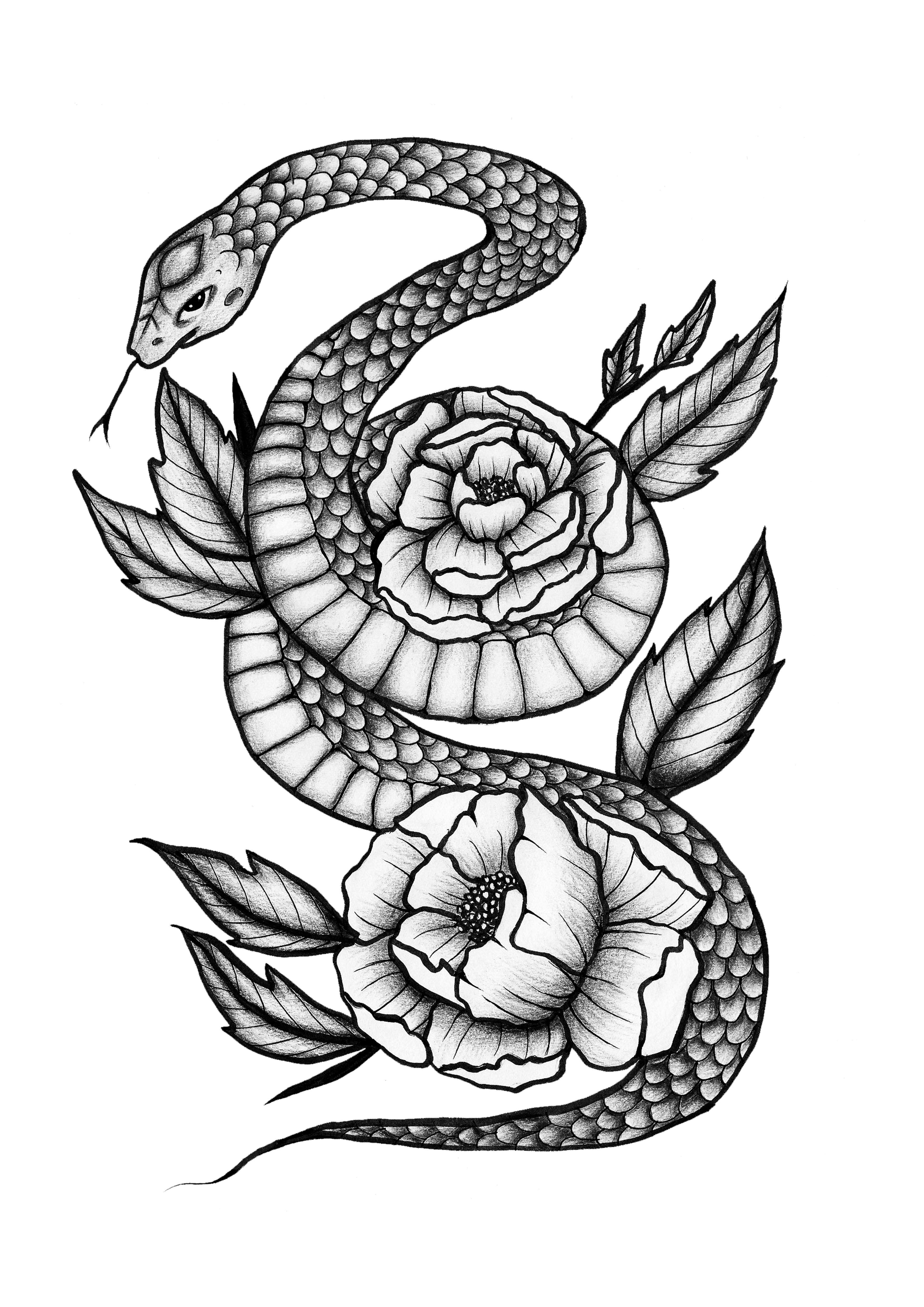 snake and peonies tattoo design black and grey