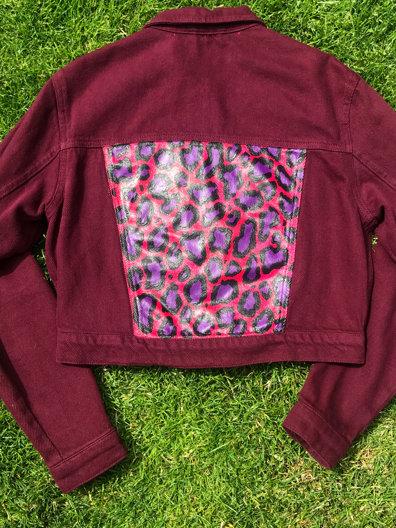 Burgundy New Look denim jacket with Pink x Purple Leopard print. Hand-painted with acrylic paint and fabric medium.