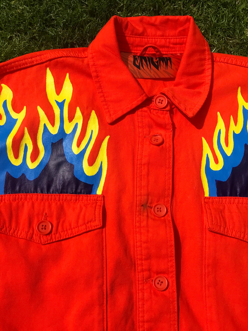 Orange Topshop denim jacket custom-painted with Blue Flames. Hand-painted with acrylic paint and fabric medium.