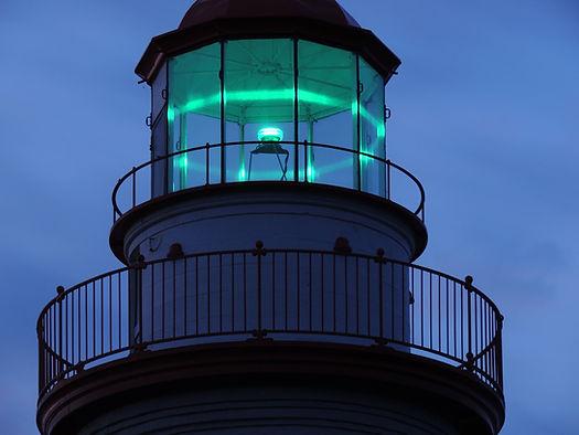 Lighthouse lit at night