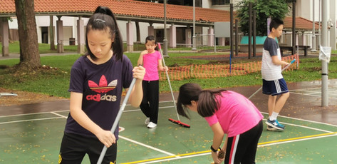 """""""Having trouble to get your kids to do housework?  Come join pickleball kids"""" – Jeffery Kuok in Whatsapp Groupchat.  Sweeping up the courts before the lessons or play is standard practice, done without request."""