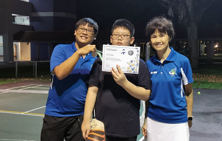 Lin Zichen, our little giant, he is getting really good at net play and overhead smashes!