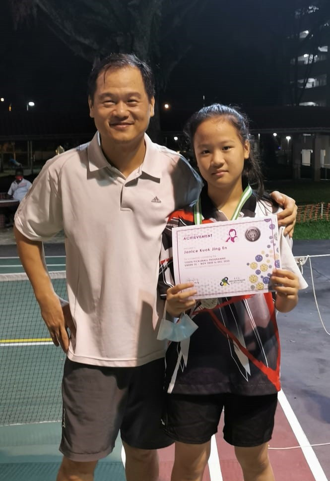 Father and daughter - Jeffery hoped to partner Janice in mixed doubles tournaments.