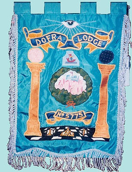 Dofra Lodge Banner showing dover castle and masonic furniture, objects and jewels