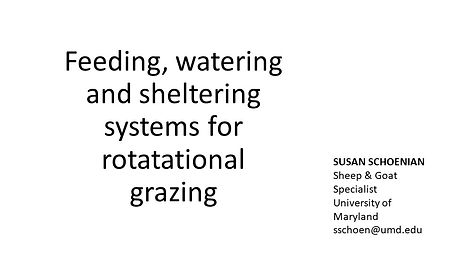 Water, Feed and Shelter Systems for Rota