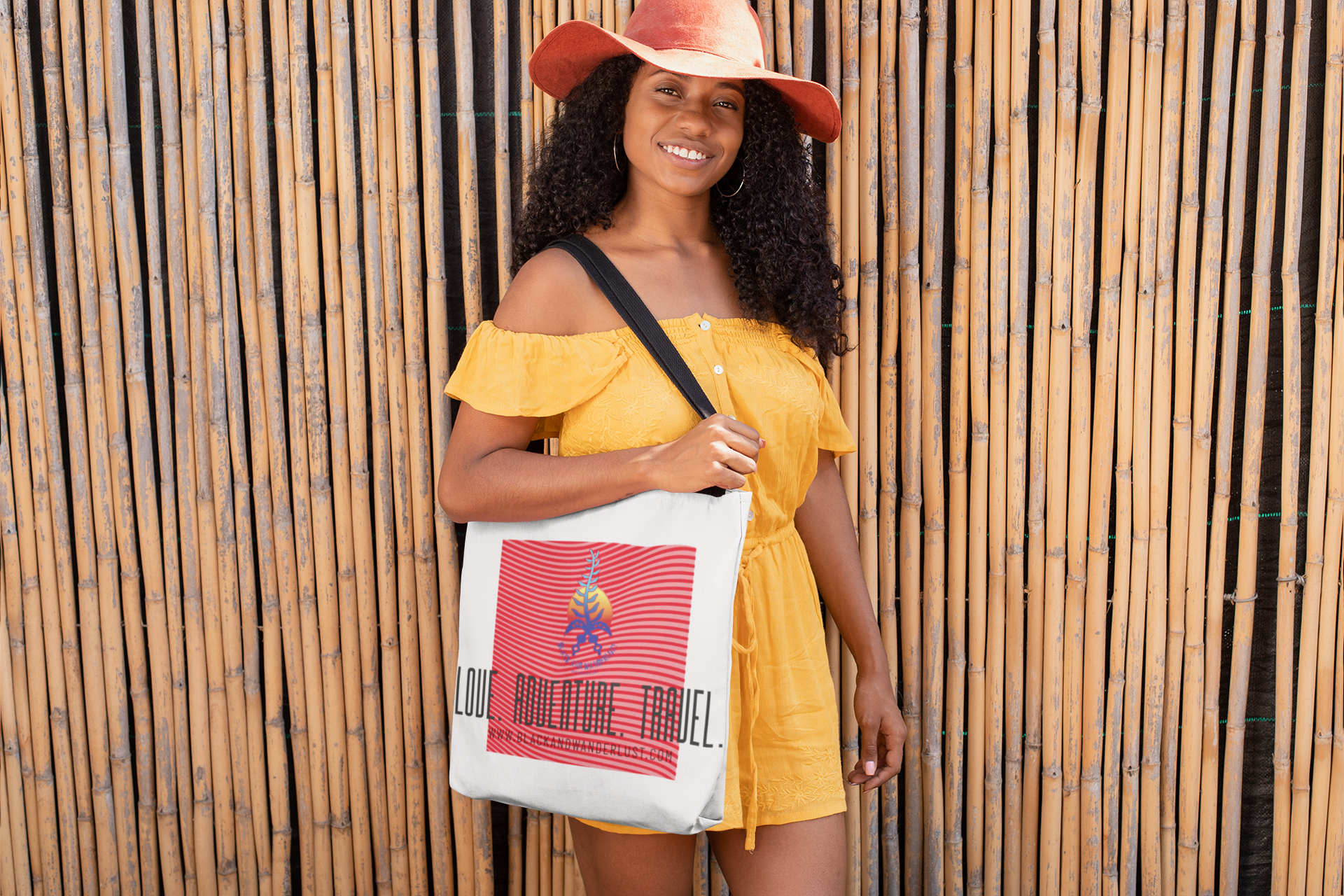 "Black and Wanderlust ""On the Go"" Tote Bag"