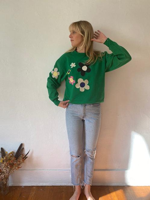 green flower crewneck