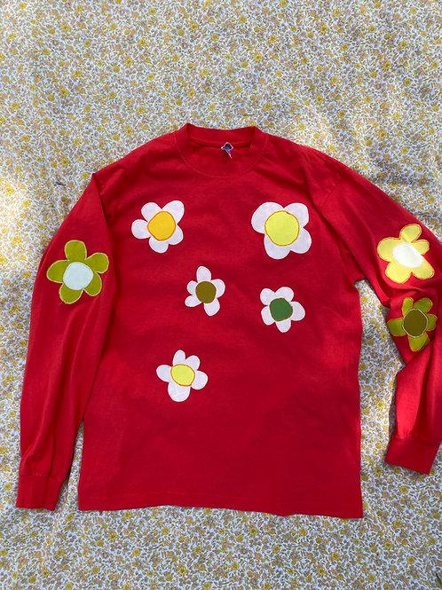 red flower long sleeve tee