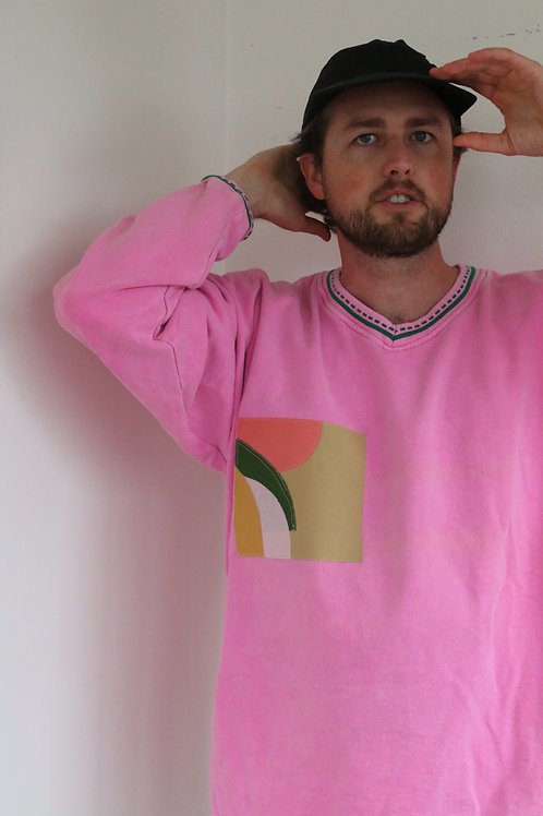 pink coffee mountain v neck