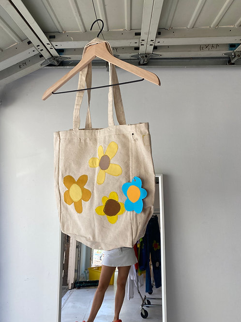 canvas flower tote bag