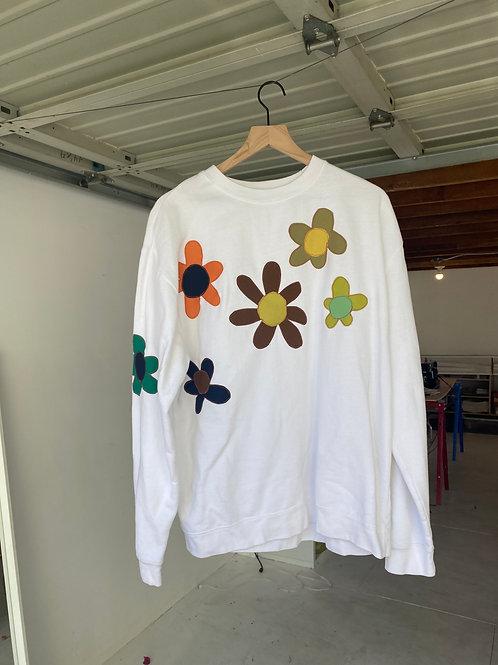 white flower crewneck
