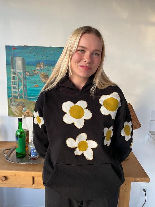 black hoodie sweat suit w/flowers