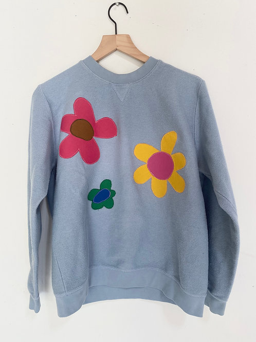 blue flower crewneck