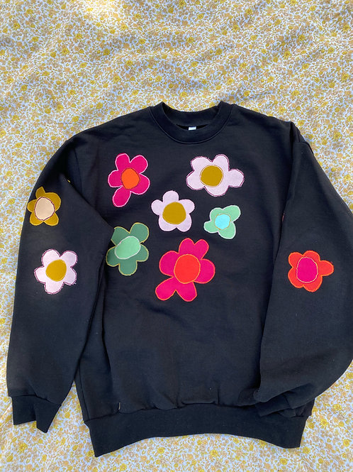 black flower crewneck