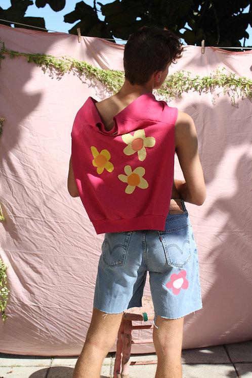 pink flower crewneck