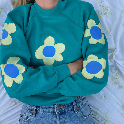 teal with yellow flowers crewneck
