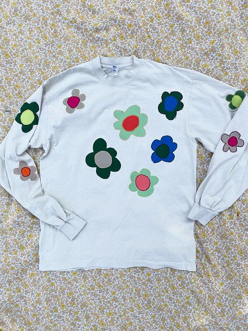 cream flower long sleeve tee