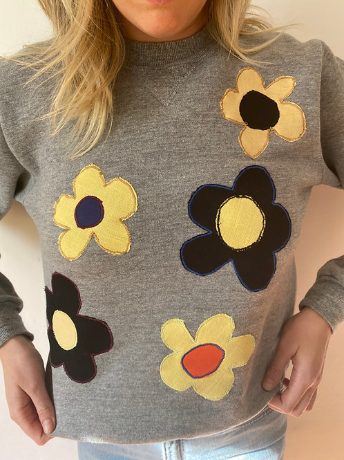 grey flower crewneck