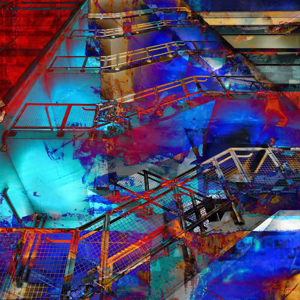 Blue stairs format
