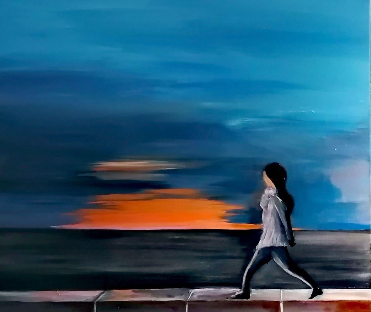 Course matinale en bord de mer