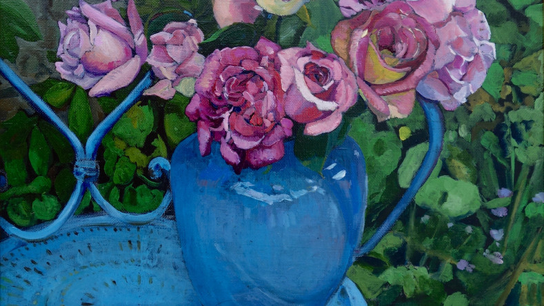 Chaise bleue et Roses