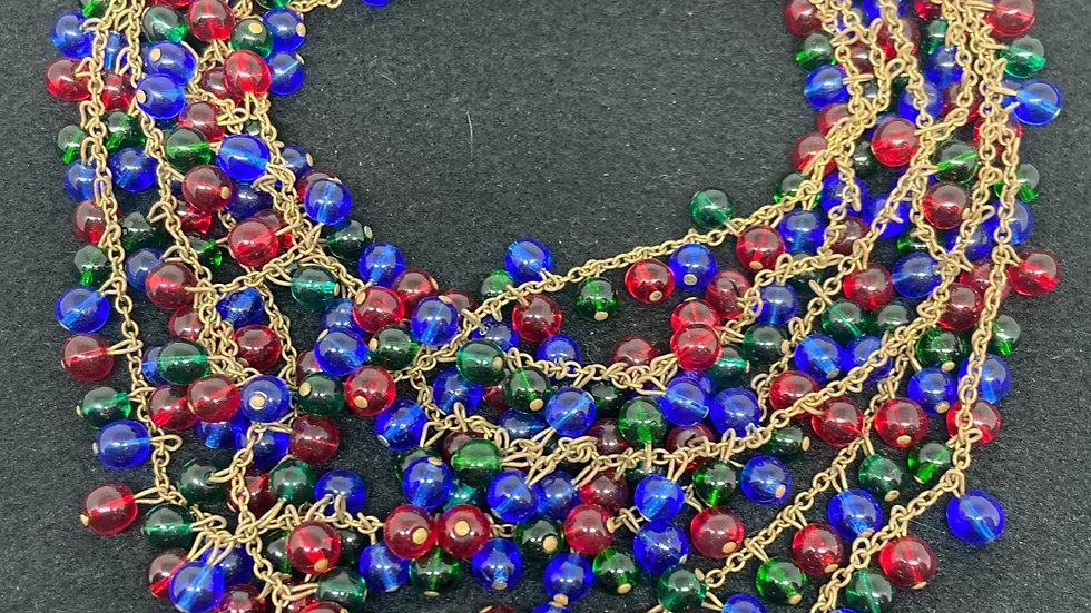 Vintage 1980's Glass Beaded Necklace & Bracelet