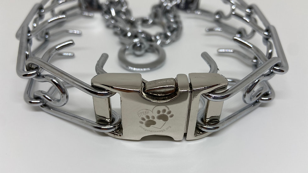 3.0 mm Herm Sprenger Prong Collar with Silver Buckle laser engraved DT&W logo