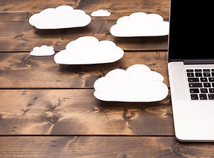 Cloud computing concept laptop close up
