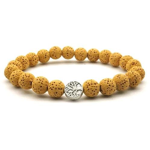 Yellow Tree of Life Lava Stone Essential Oil Bracelet
