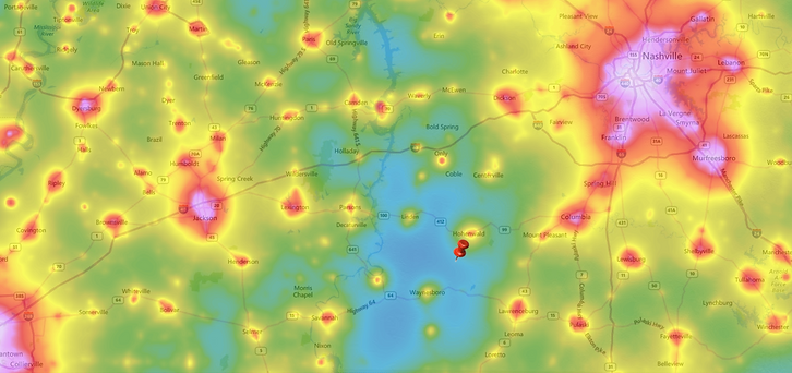 light pollution map tennessee