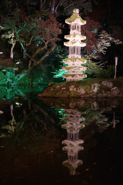 Garden lantern at night