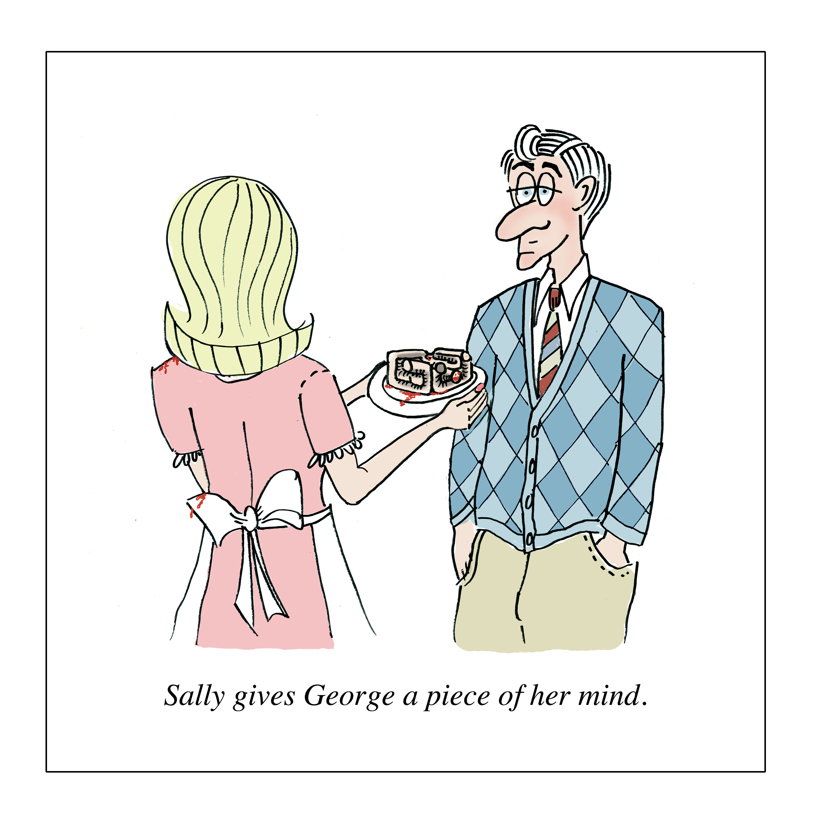 sally gives george a piece