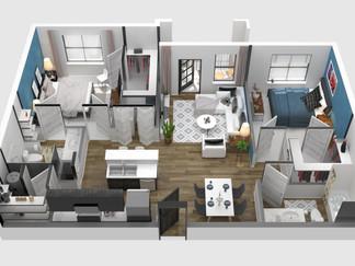 3D floor plan 4K Angle Cut