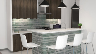 Minimal kitchen with wood board and marble