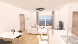 Feminine apartment interior design with minimalism concept
