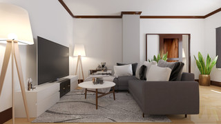 Apartment Livingroom 3D rendering
