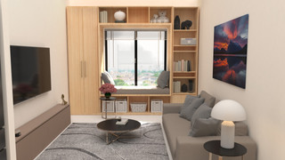 3D apartment with window seat