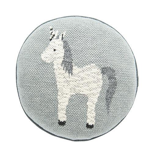 Round Grey Unicorn Cotton Knit Pillow