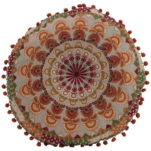 """3""""H Cotton Embroidered Floor Cushion with Mini Pom Poms"""