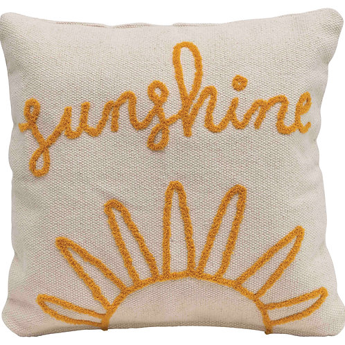 """Sunshine"" Embroidered Square Cotton Pillow"